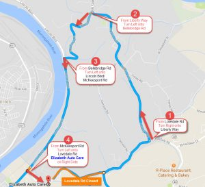 Bellebridge Rd Detour Elizabeth Auto Care Use this detour route when coming in from McKeesport, Boston, Buena Vista, Lincoln, Liberty Borough, and Elizabeth Twp during the Lovedale Rd closure